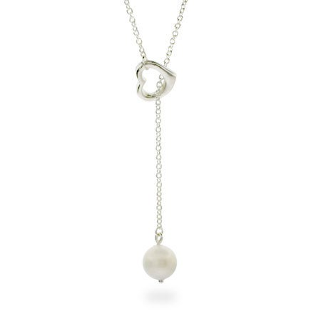 Pearl Drop Sterling Silver Heart Lariat | Eve's Addiction®