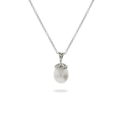 Freshwater Pearl Heart Cap Necklace