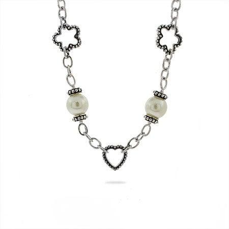 Designer Inspired Pearl Charm Link Necklace