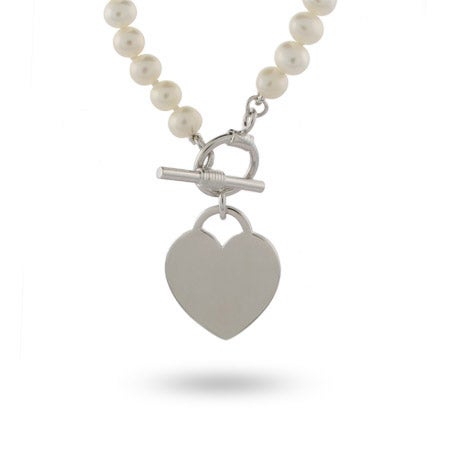 Freshwater Pearl Sterling Silver Heart Tag Necklace
