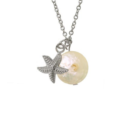 Sterling Silver Starfish with Freshwater Pearl Pendant | Eve's Addiction®