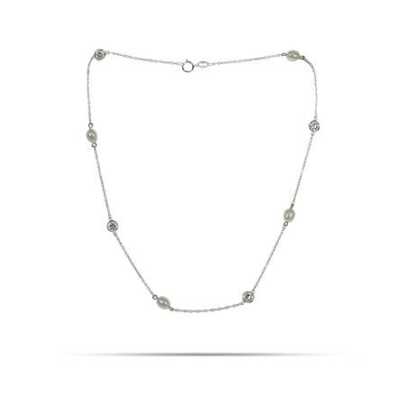 Pearl CZ Studded Chain Necklace   Eve's Addiction®