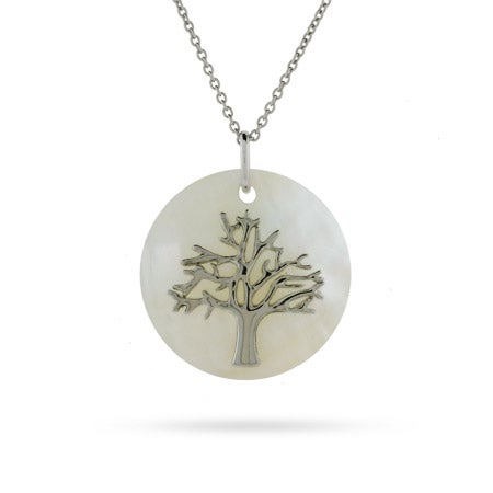 Sterling Silver Mother of Pearl Tree of Life Necklace