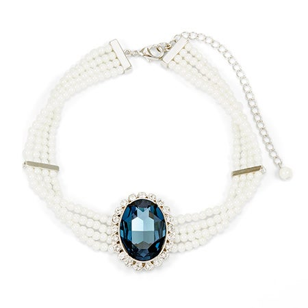Royalty Inspired Sapphire CZ Pearl Choker Necklace