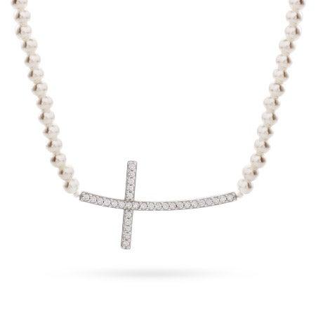 Sterling Silver Pearl CZ Sideways Cross Necklace