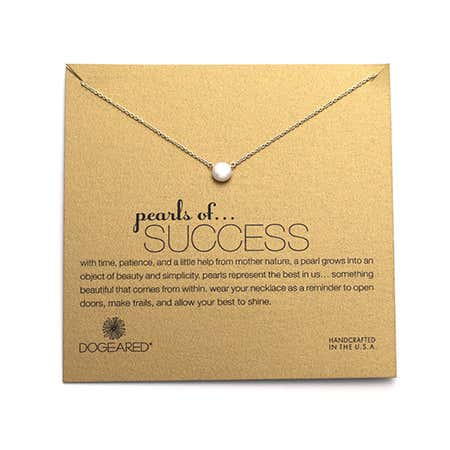 display slide 1 of 3 - Dogeared Pearls of Success Gold Dipped Necklace - selected slide