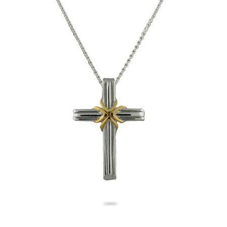 Designer Style Two Tone Cross Pendant   Eve's Addiction®