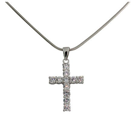 Designer Style Sterling Silver Diamond CZ Cross Pendant | Eve'sAddiction
