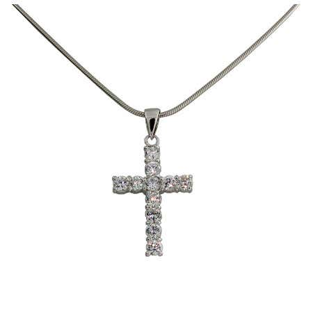 Silver Diamond CZ Cross Pendant