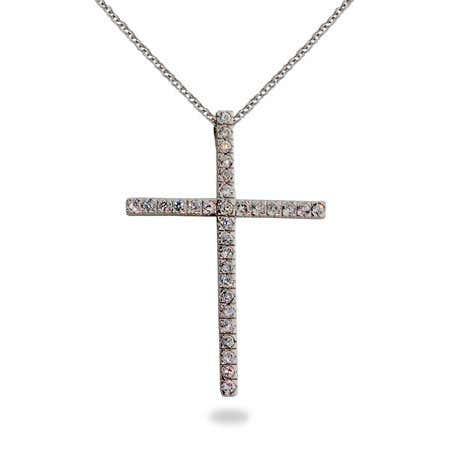 Sterling Silver Diamond CZ Cross