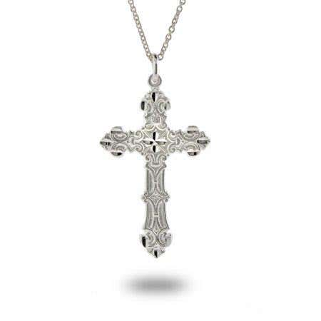 display slide 1 of 2 - Ornate Vintage Style Sterling Silver Cross Pendant - selected slide