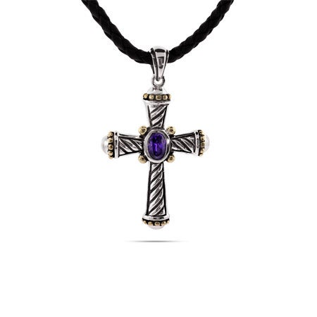 Designer Inspired Cable Amethyst CZ Cross Pendant