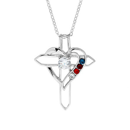 Custom 4 Birthstone Cross Heart Necklace | Eve's Addiction®