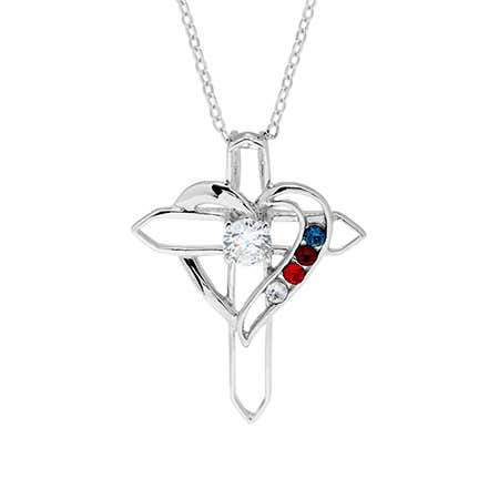 Custom 4 Birthstone Cross Heart Necklace
