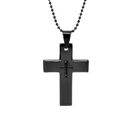 display slide 1 of 3 - Black Plate Stainless Steel Engravable Cross - selected slide