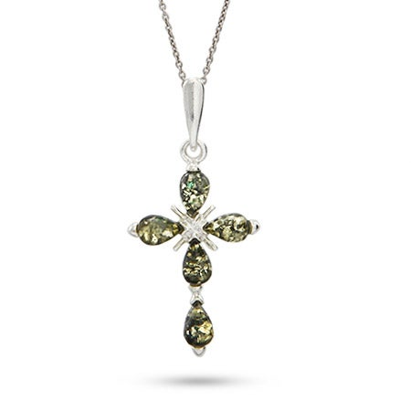Genuine Green Baltic Amber Cross Pendant