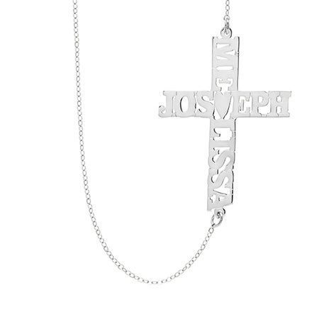 Custom Couples Name Sideways Cross Necklace | Eve's Addiction