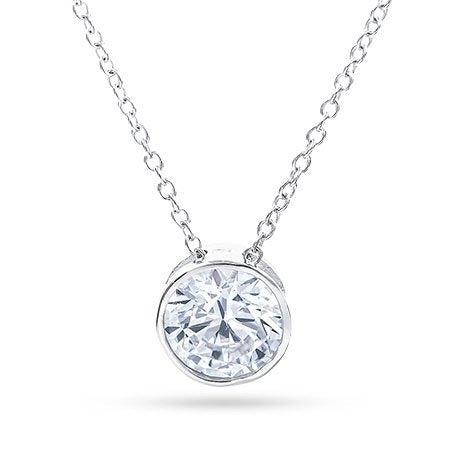 Designer Style Sterling Silver Necklace with Bezel Set CZ | Eve's Addiction®