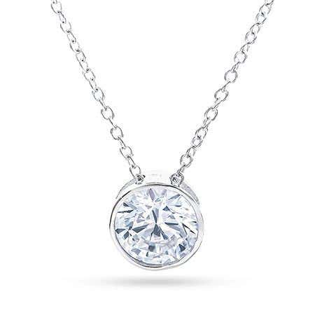 Designer Style Sterling Silver Bezel Set CZ Necklace