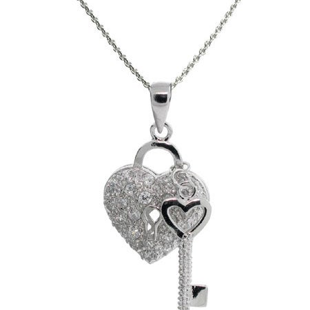 The Key To My Heart Pave CZ Pendant