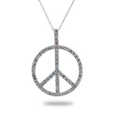 Silver Pave CZ Peace Sign Necklace