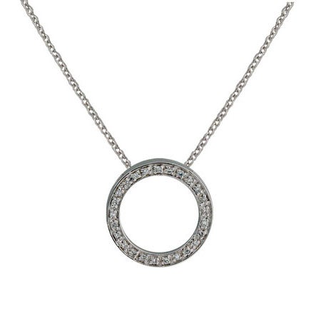 Designer Style 3/4 Inch O Necklace with Pave CZ's | Eve's Addiction®