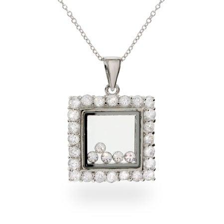 Designer Inspired Floating Diamond CZ Square Pendant