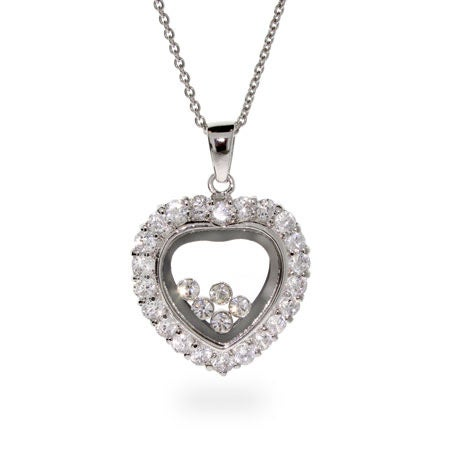 Designer Inspired Silver Floating Diamonds CZ Heart Necklace