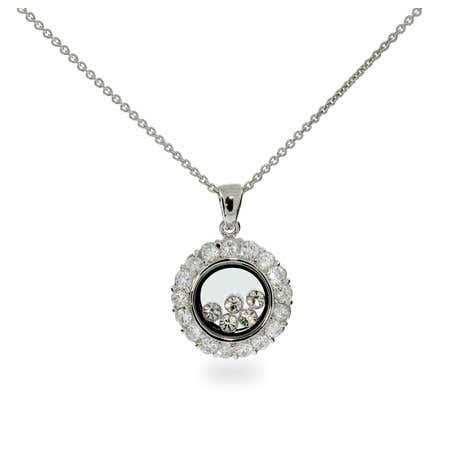 Floating Diamond CZ Circle Necklace