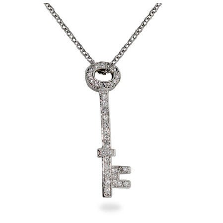 Designer Style Diamond CZ Key Pendant | Eve's Addiction®