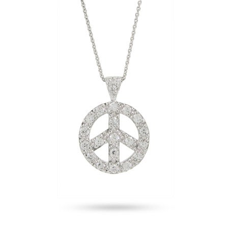 Sterling Silver Pave CZ Peace Sign Necklace | Eve's Addiction