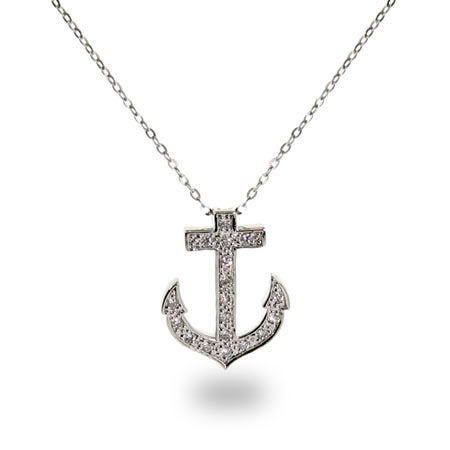 Designer Style Cubic Zirconia Anchor Necklace | Eve's Addiction®