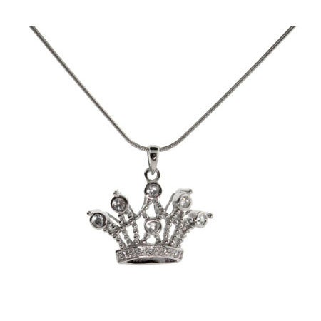 Sterling Silver Crown Jewels CZ Necklace | Eve's Addiction®