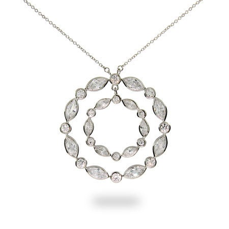 Designer Style Sway Circle CZ Necklace
