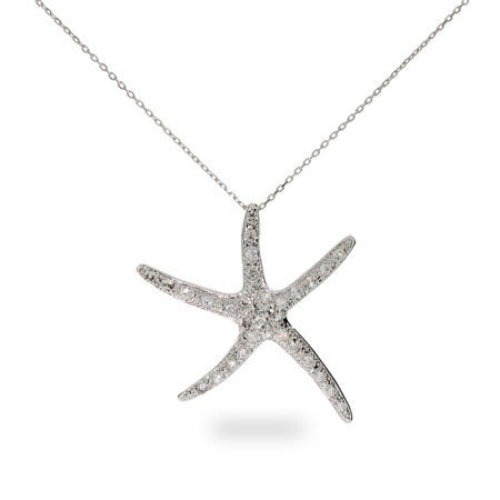 Sterling Silver Pave CZ Starfish Pendant | Eve's Addiction