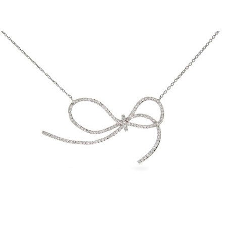 Sterling Silver Fancy CZ Bow Necklace | Eve's Addiction®