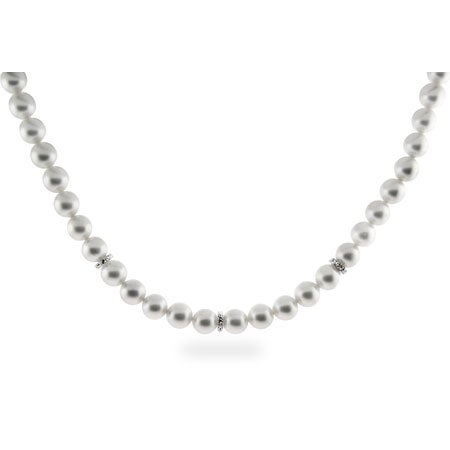 CZ Accent White Faux Pearl Necklace