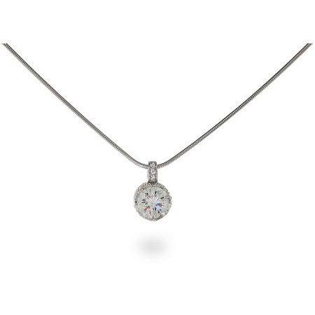 Crown Set Diamond Star Cut CZ Solitaire Necklace