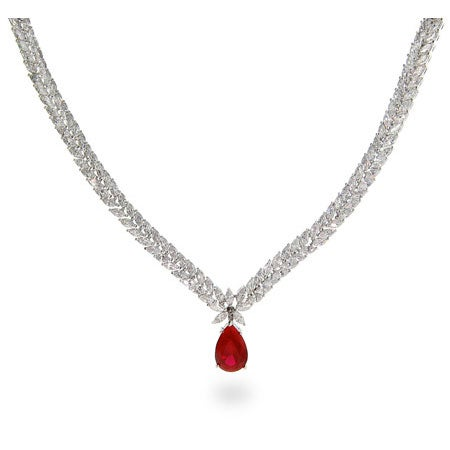 Double Row Marquise CZ Necklace with Ruby CZ Drop