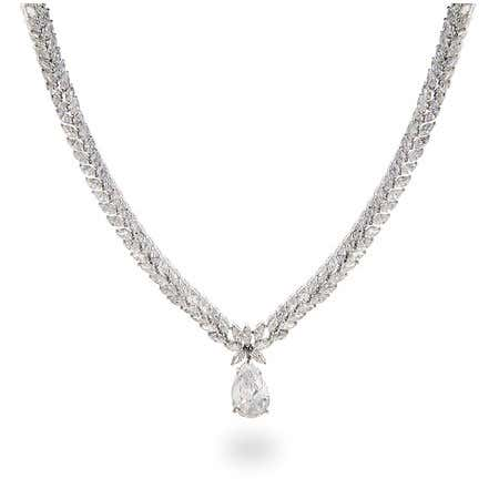 Double Row Marquise CZs with Pear Diamond CZ Drop