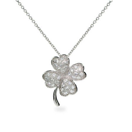 Good Luck Silver Pave CZ Four Leaf Clover Necklace