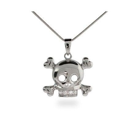 CZ Skull & Crossbones Sterling Silver Necklace