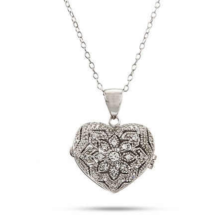 Heart Locket Necklace with Cubic Zirconia Design | Eve's Addiction