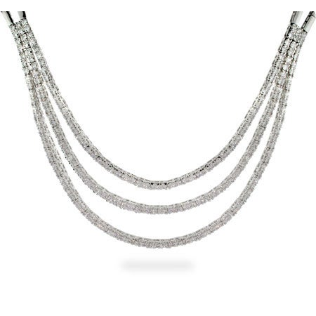 Cubic Zirconia Layered Sterling Silver Necklace