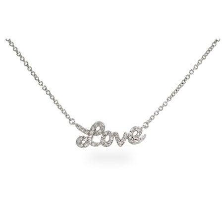 Sterling Silver Cursive Love CZ Necklace