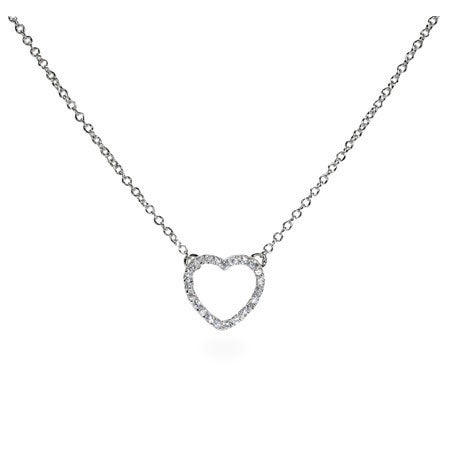 Sterling Silver Petite CZ Heart Necklace