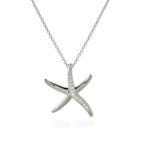 CZ Starfish Sterling Silver Necklace | Eve's Addiction®