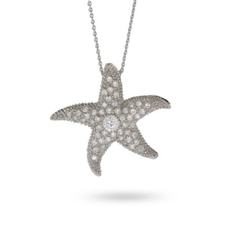 Pave Starfish Sterling Silver Pin Necklace