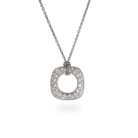 Sterling Silver Pave CZ Cushion Pendant   Eve's Addiction®