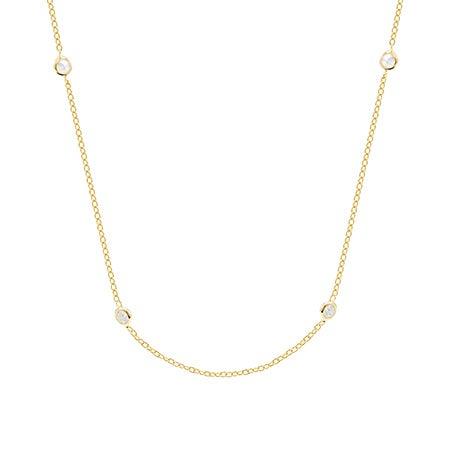 CZ Studded Chain Gold Vermeil Necklace